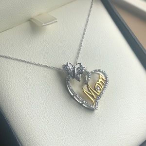 Jewelry - 10k white gold mom pendent necklace  brand new